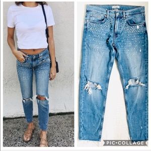 Zara Faux Pearl Embellished Slim Boyfriend Jeans
